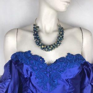 Vtg 70s blue wicker raffia woven choker necklace